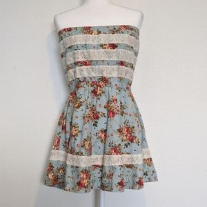 Lucca Couture Strapless Sky Blue Floral Dress L